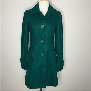 Tulle Green Wool Long Car Coat